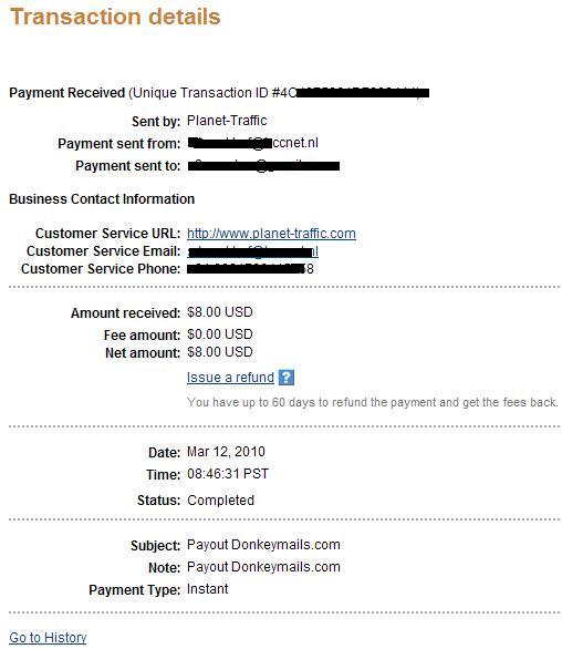 Bukti Pembayaran Donkeymails Via Paypal